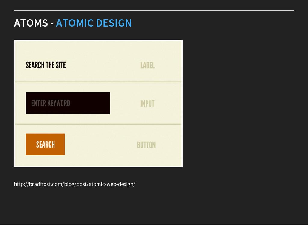 ATOMS - ATOMIC DESIGN http://bradfrost.com/blog...