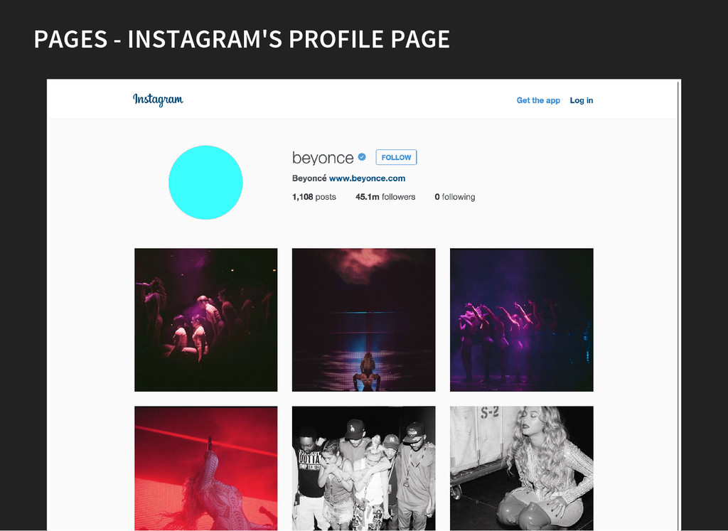 PAGES - INSTAGRAM'S PROFILE PAGE