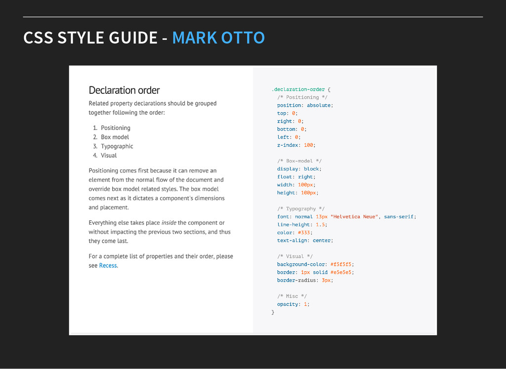 CSS STYLE GUIDE - MARK OTTO