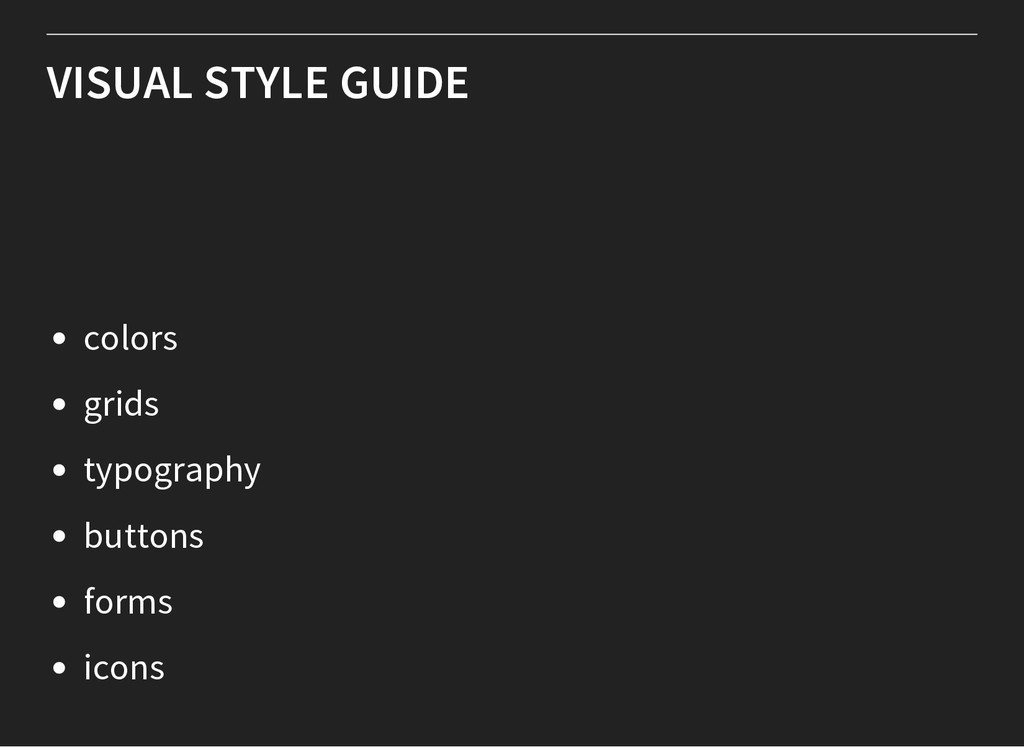 VISUAL STYLE GUIDE colors grids typography butt...