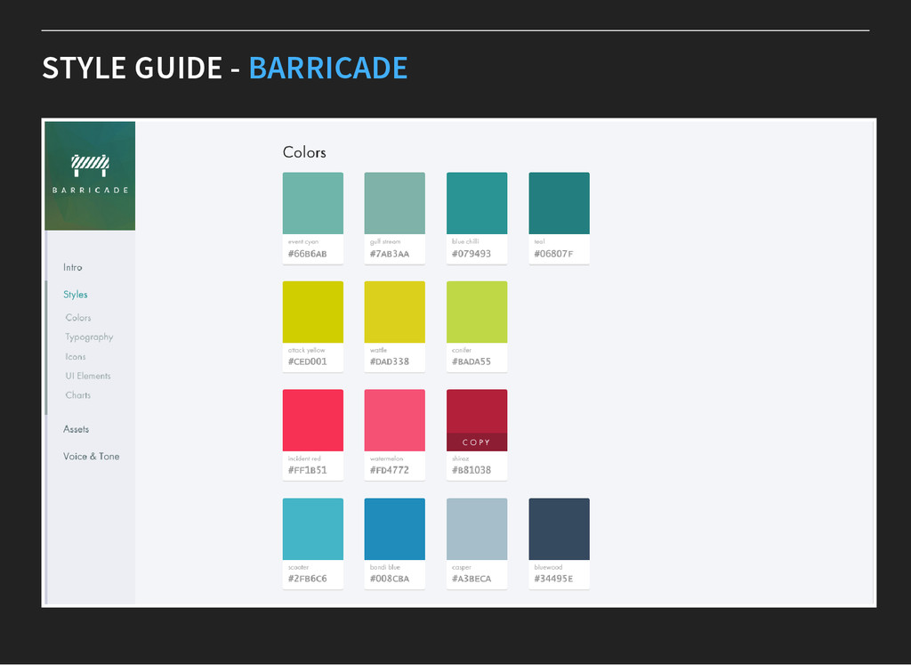 STYLE GUIDE - BARRICADE