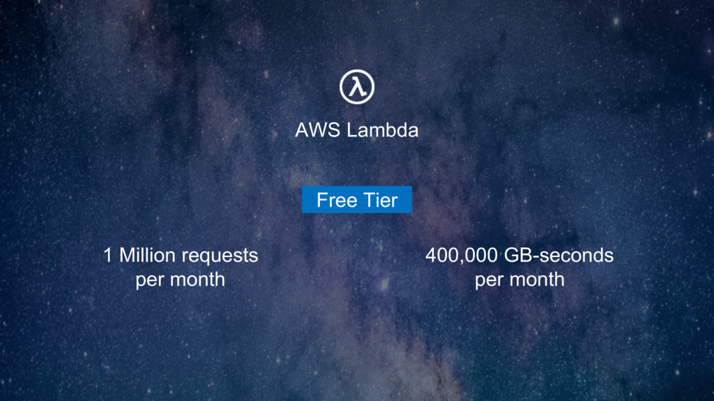 1 Million requests per month 400,000 GB-seconds...