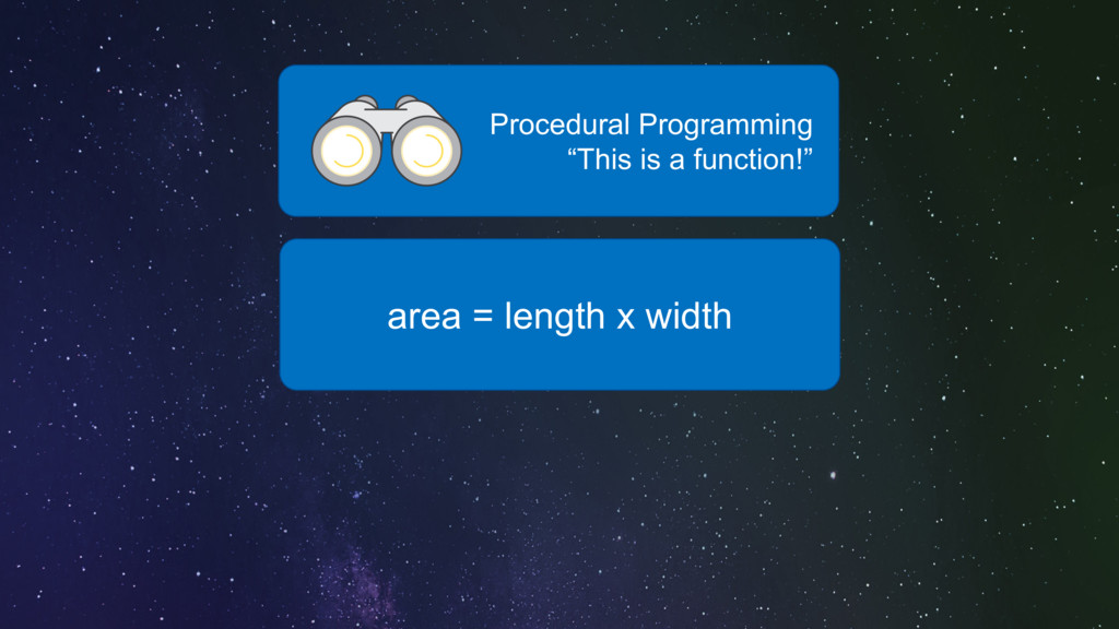 "area = length x width Procedural Programming ""T..."