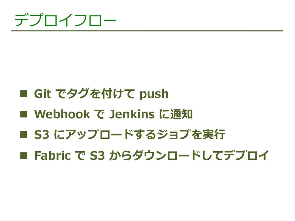 デプロイフロー n Git でタグを付けて push n Webhook で ...