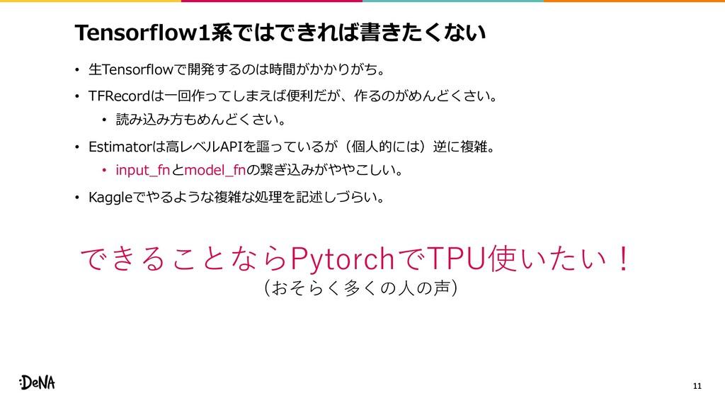Tensorflow1系ではできれば書きたくない • ⽣Tensorflowで開発するのは時間...