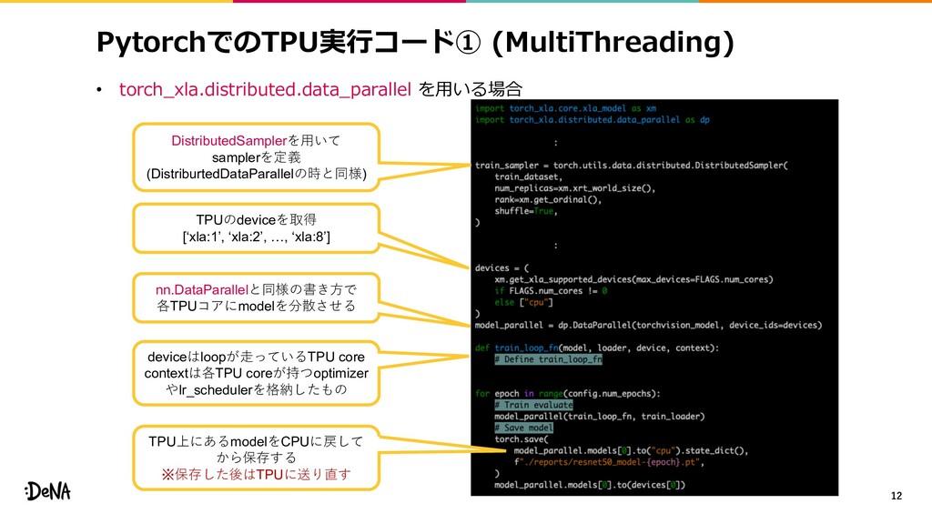 PytorchでのTPU実⾏コード① (MultiThreading) • torch_xla...