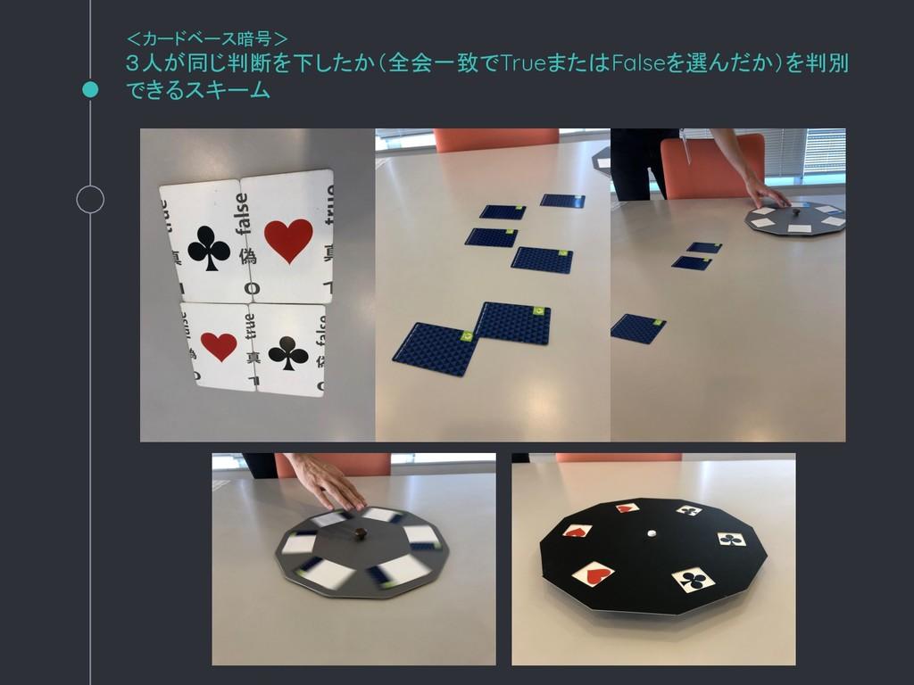<カードベース暗号> 3人が同じ判断を下したか(全会一致でTrueまたはFalseを選んだか)...