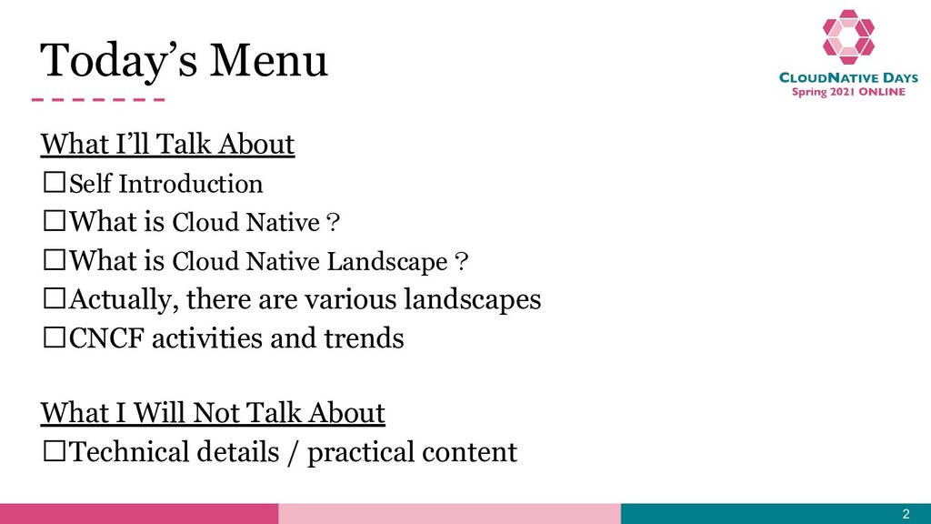 Today's Menu What I'll Talk About 𝥷Self Introdu...