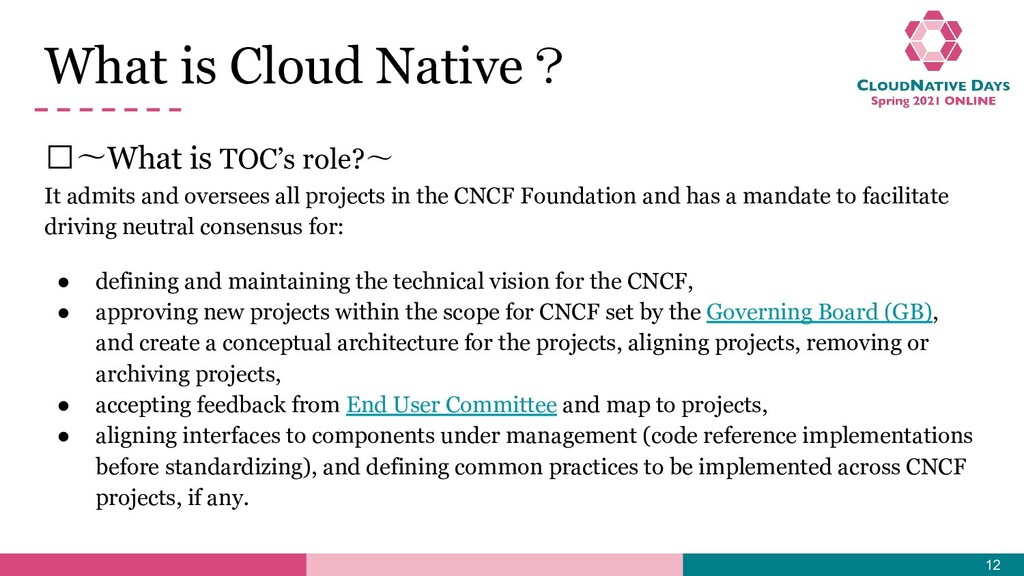 𝥷〜What is TOC's role?〜 It admits and oversees a...