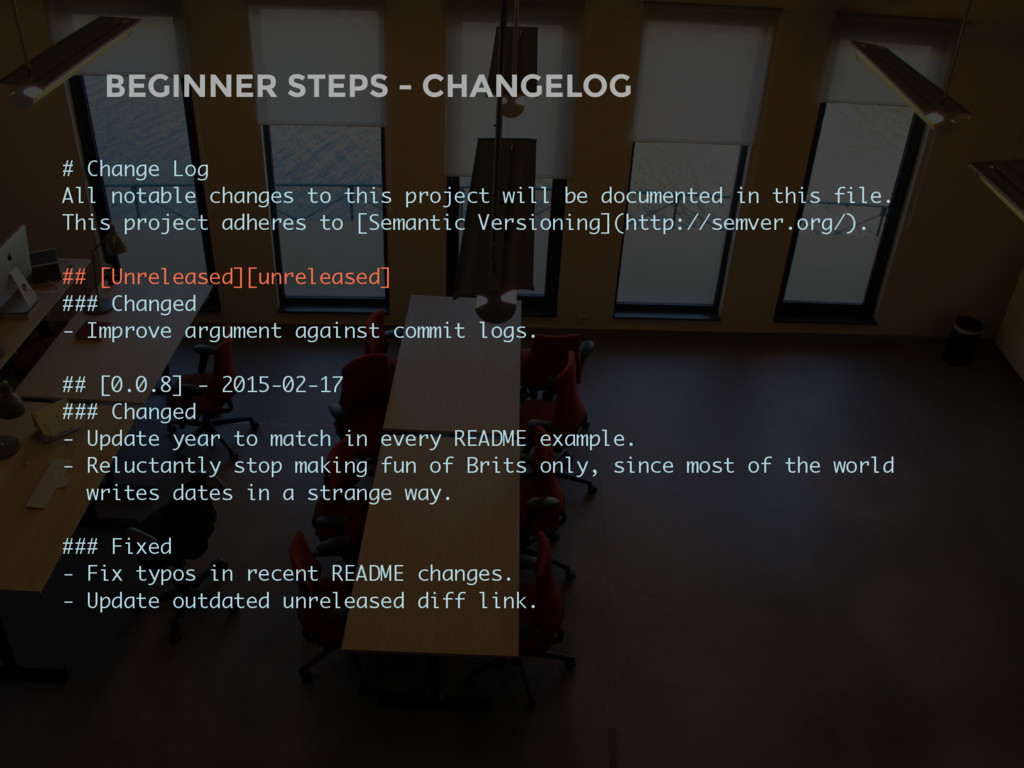 BEGINNER STEPS - CHANGELOG # Change Log All not...