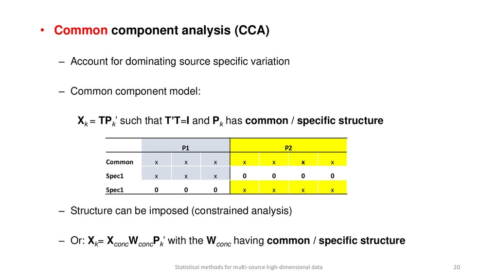 • Common component analysis (CCA) – Account for...