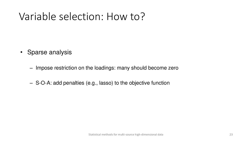 • Sparse analysis – Impose restriction on the l...