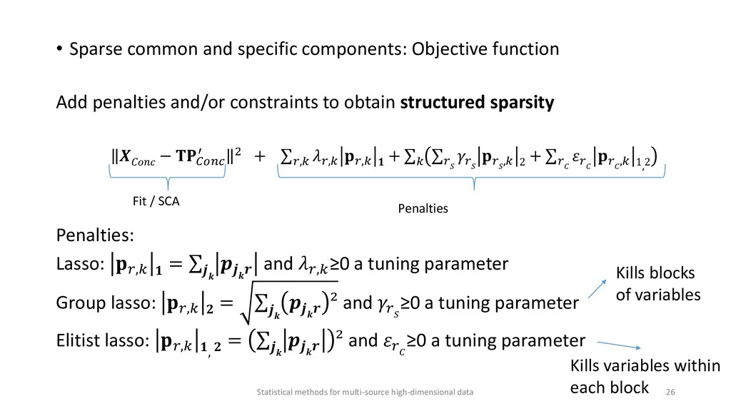 • Sparse common and specific components: Object...