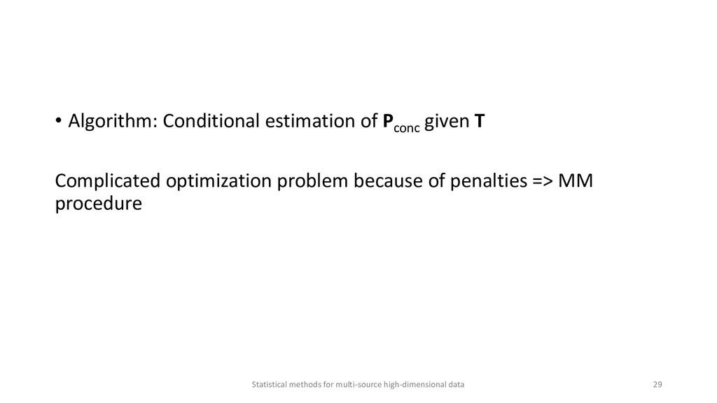 • Algorithm: Conditional estimation of Pconc gi...
