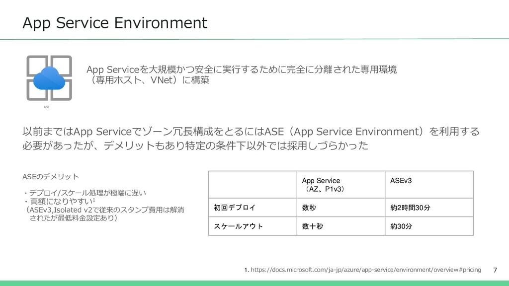 App Service Environment 7 以前まではApp Serviceでゾーン冗...