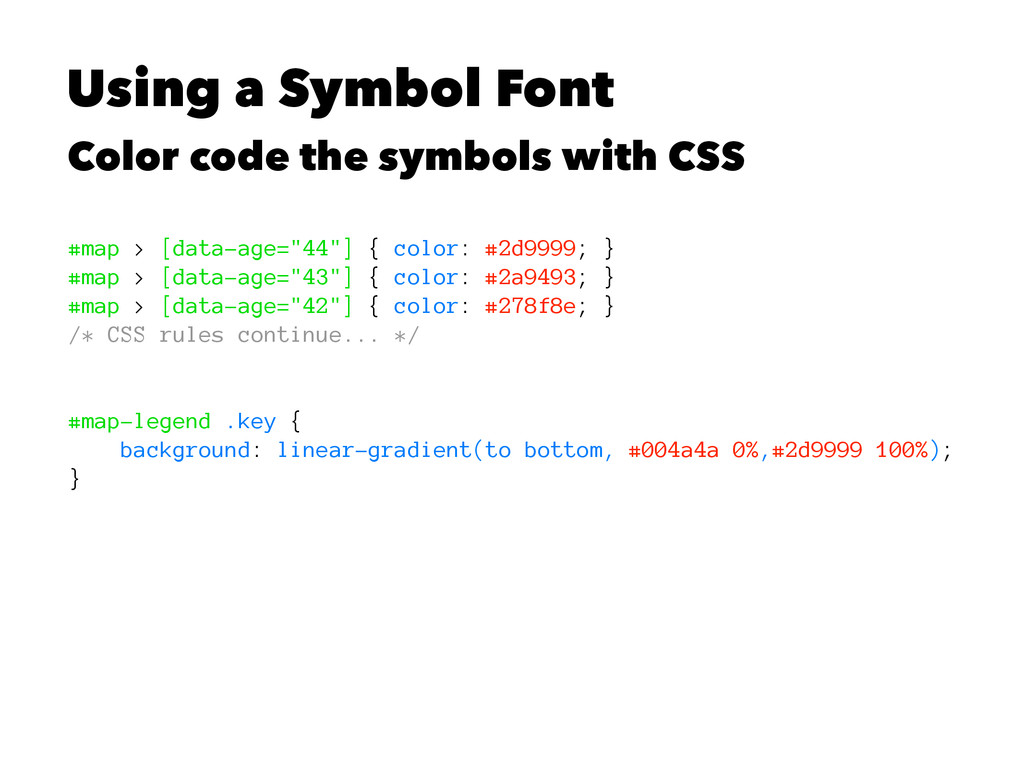 Using a Symbol Font Color code the symbols with...