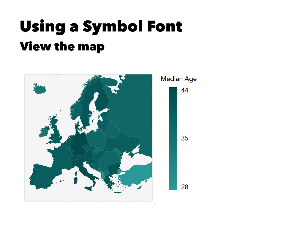 Using a Symbol Font View the map