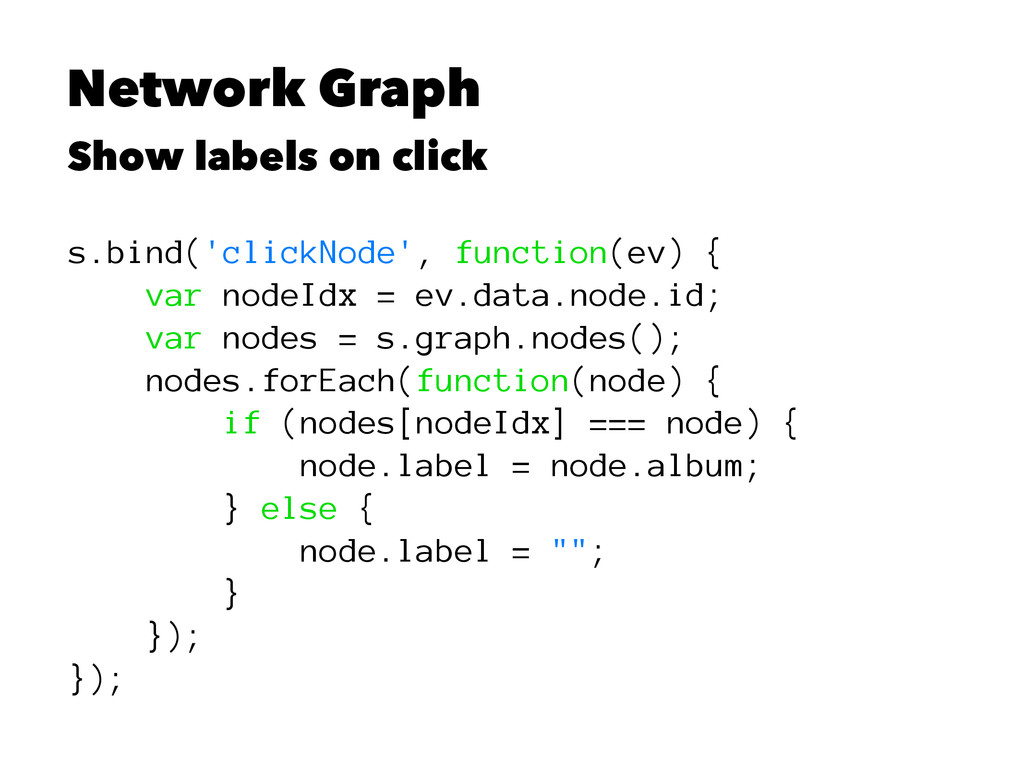 Network Graph Show labels on click s.bind('clic...