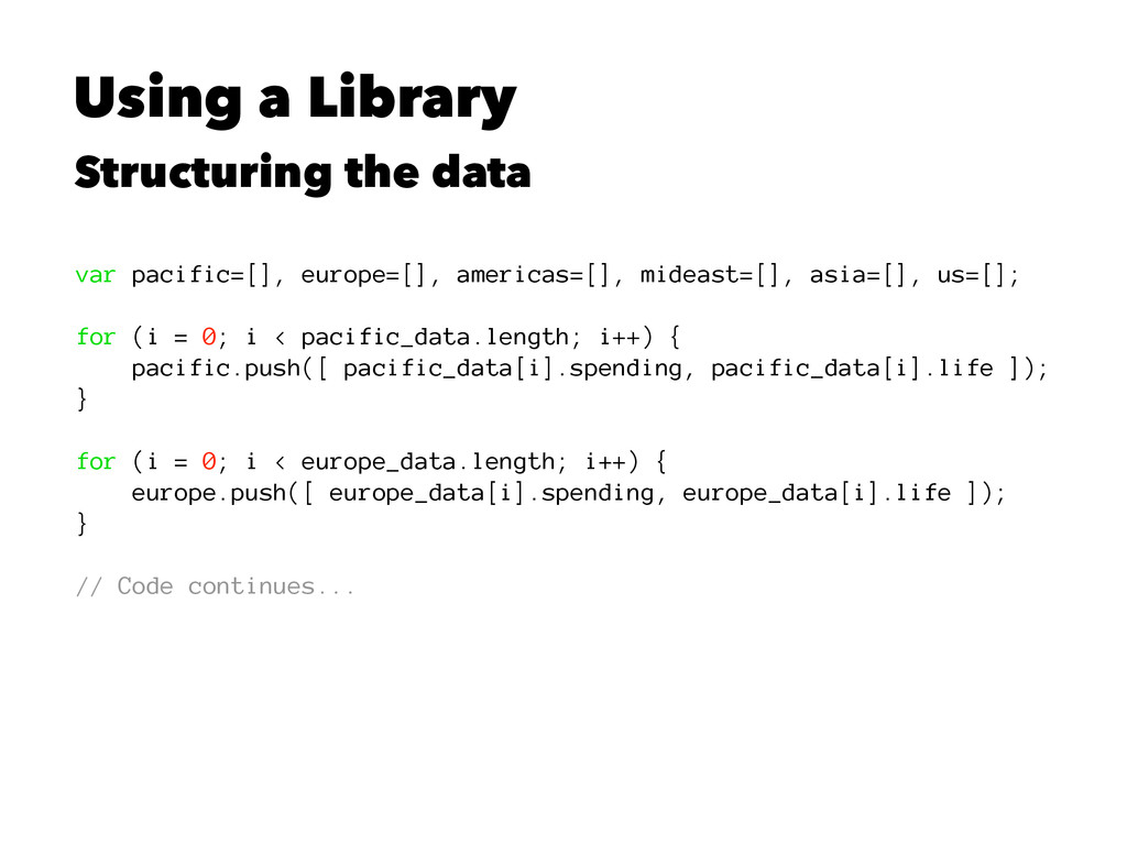 Using a Library Structuring the data var pacifi...