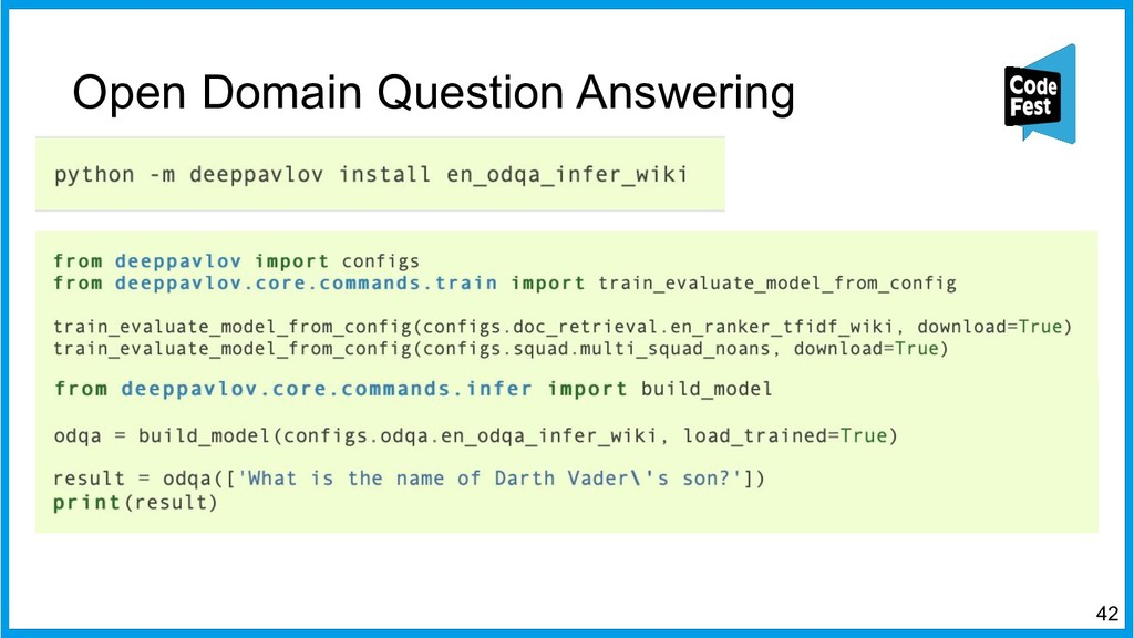 Open Domain Question Answering 42