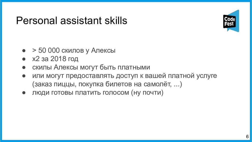 Personal assistant skills 6 ● > 50 000 скилов у...