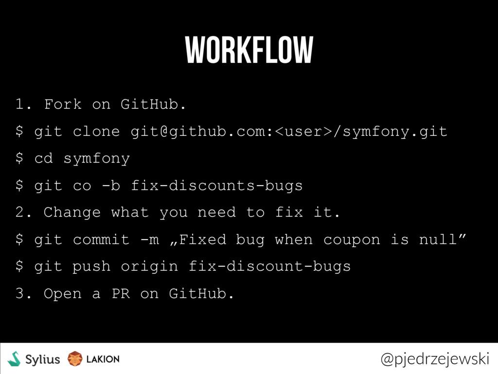 workflow 1. Fork on GitHub. $ git clone git@git...