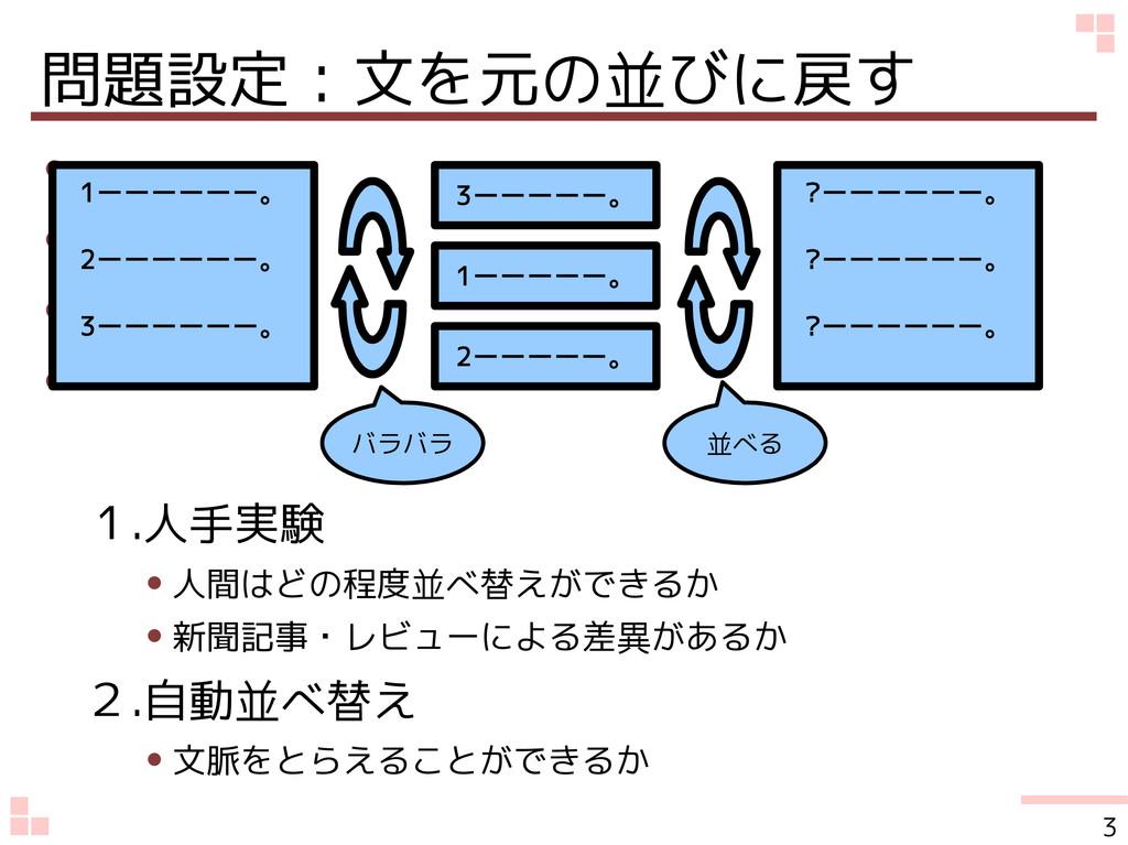 問題設定:文を元の並びに戻す ● ● ● ● 1.人手実験 ● 人間はどの程度並べ替えができる...