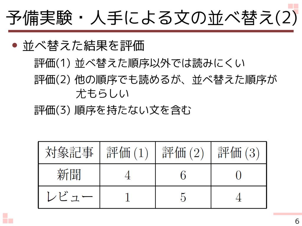 予備実験・人手による文の並べ替え(2) ● 並べ替えた結果を評価 評価(1) 並べ替えた順序以...