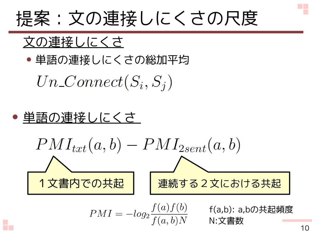 提案:文の連接しにくさの尺度 文の連接しにくさ ● 単語の連接しにくさの総加平均 ● 単語の連...