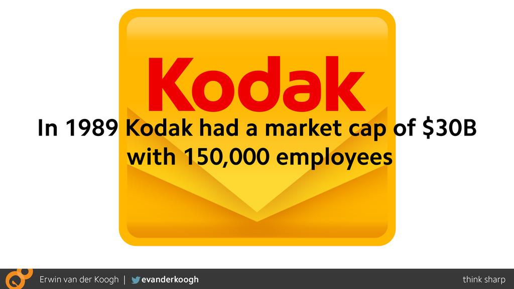 In 1989 Kodak had a market cap of $30B with 150...