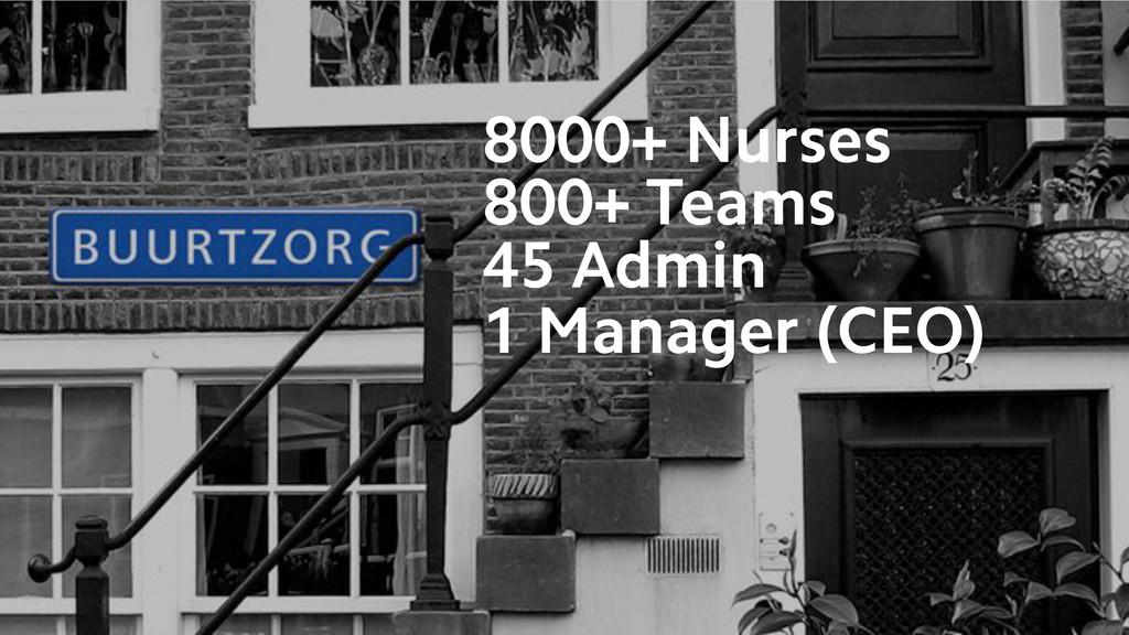 8000+ Nurses 800+ Teams 45 Admin 1 Manager (CEO)