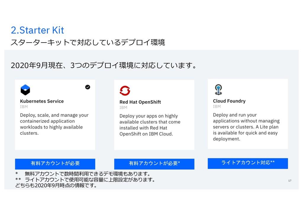 2.Starter Kit スターターキットで対応しているデプロイ環境 2020年9⽉現在、3...