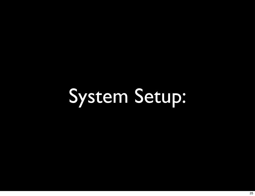 System Setup: 25