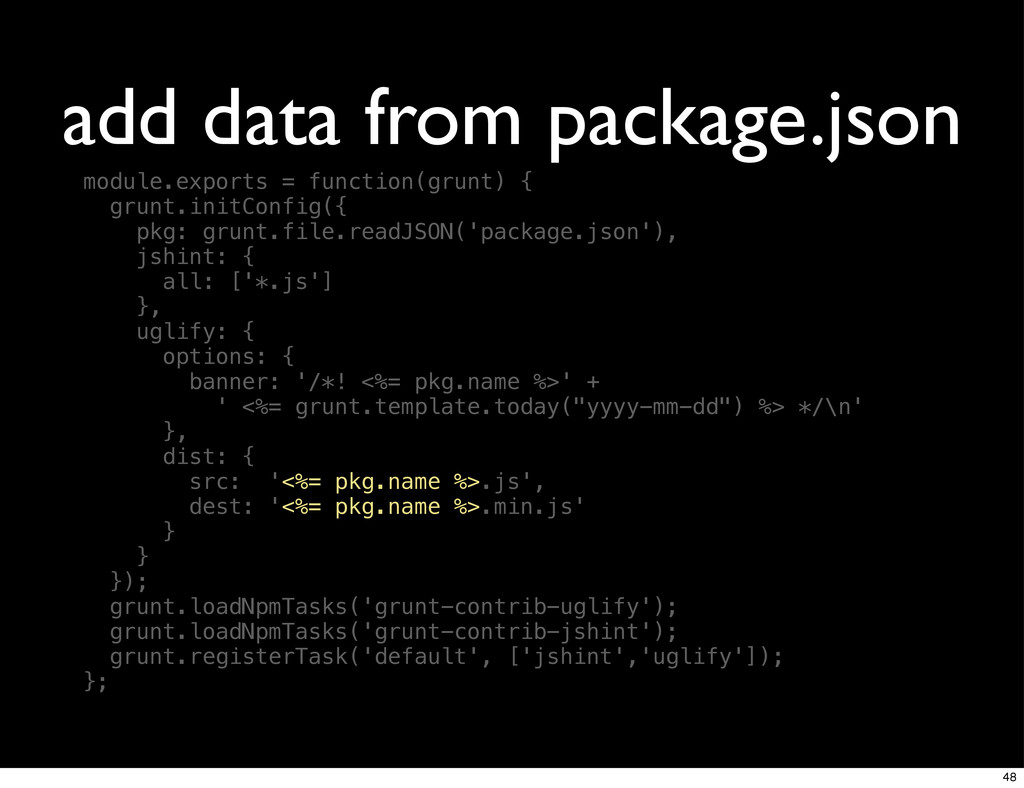 add data from package.json module.exports = fun...