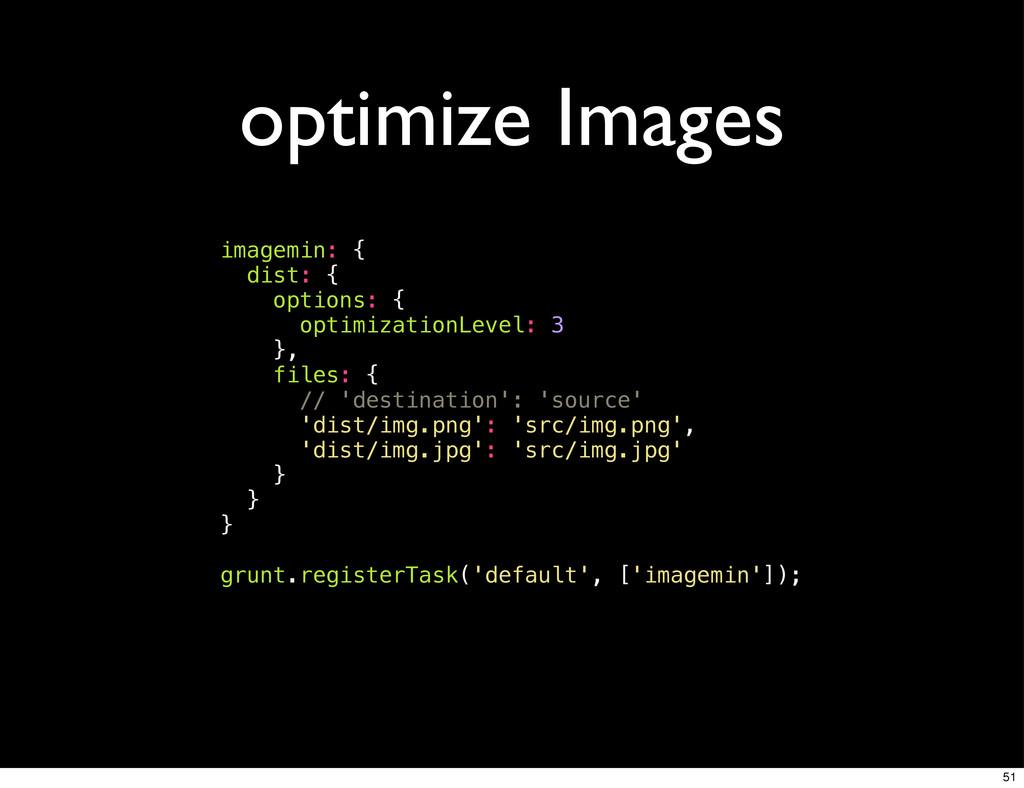 optimize Images imagemin: { dist: { options: { ...