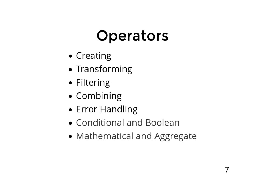 Operators Operators Creating Transforming Filte...