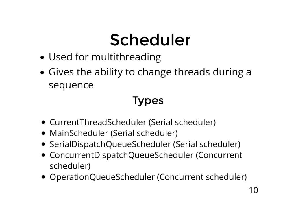 Scheduler Scheduler Used for multithreading Giv...
