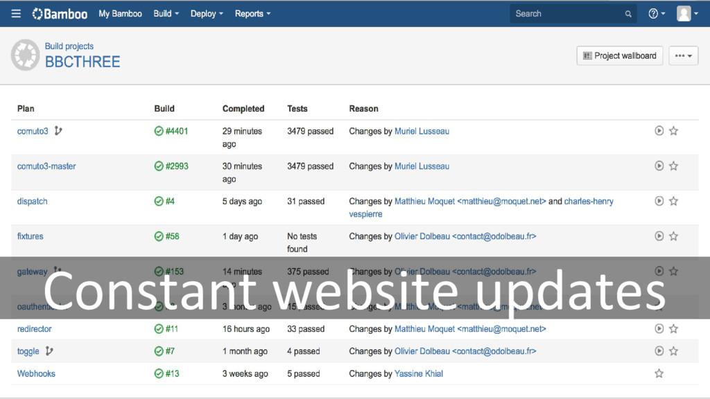 Constant website updates