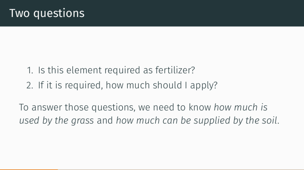 Two questions 1. Is this element required as fe...
