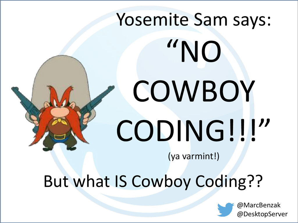"Yosemite Sam says: ""NO COWBOY CODING!!!"" (ya va..."
