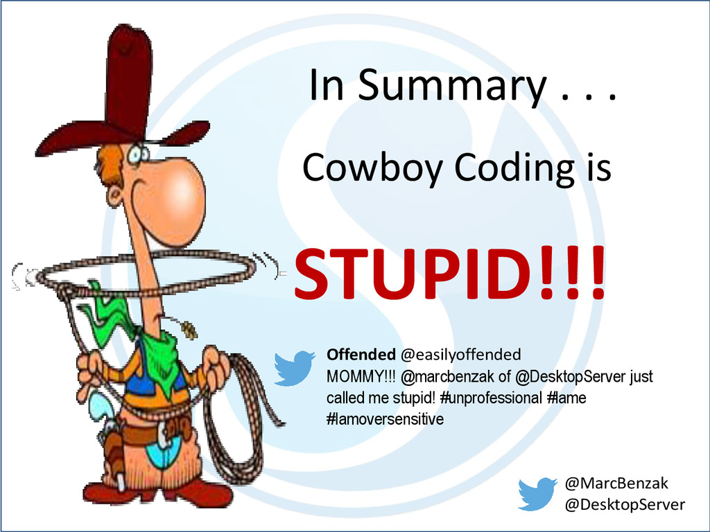In Summary . . . Cowboy Coding is STUPID!!! Off...