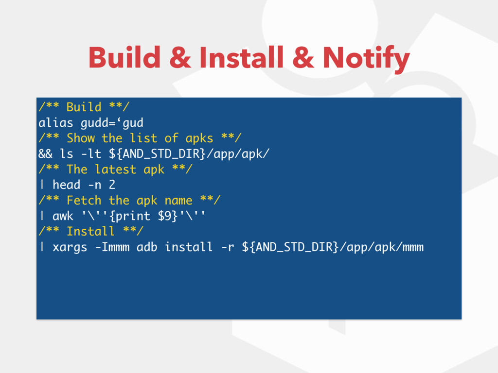 Build & Install & Notify /** Build **/ alias gu...