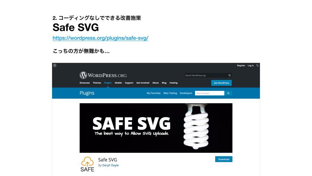 2. ίʔσΟϯάͳ͠ͰͰ͖Δվળࢪࡦ Safe SVG https://wordpress....