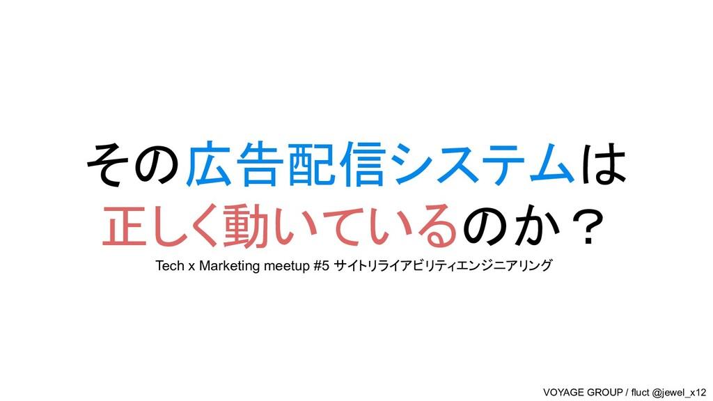 その広告配信システムは 正しく動いているのか? Tech x Marketing meetup...