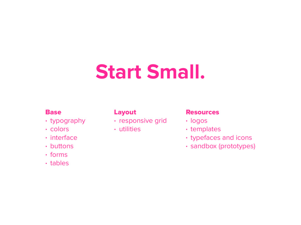 Start Small. Layout • responsive grid • utiliti...