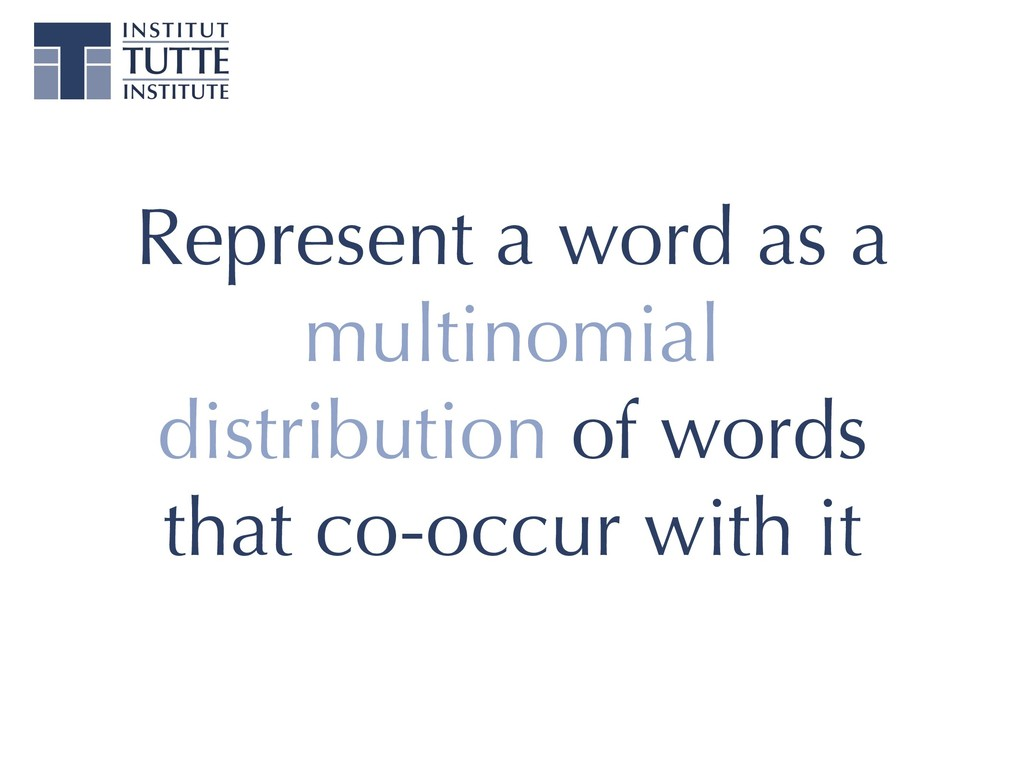 Represent a word as a multinomial distribution ...