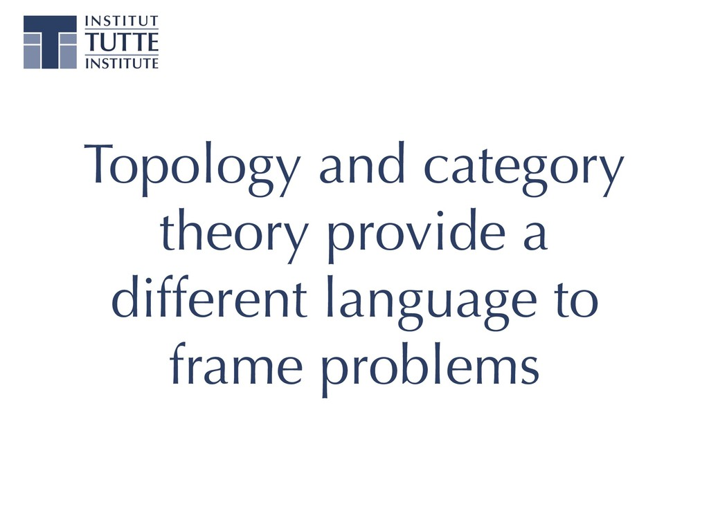 Topology and category theory provide a differen...