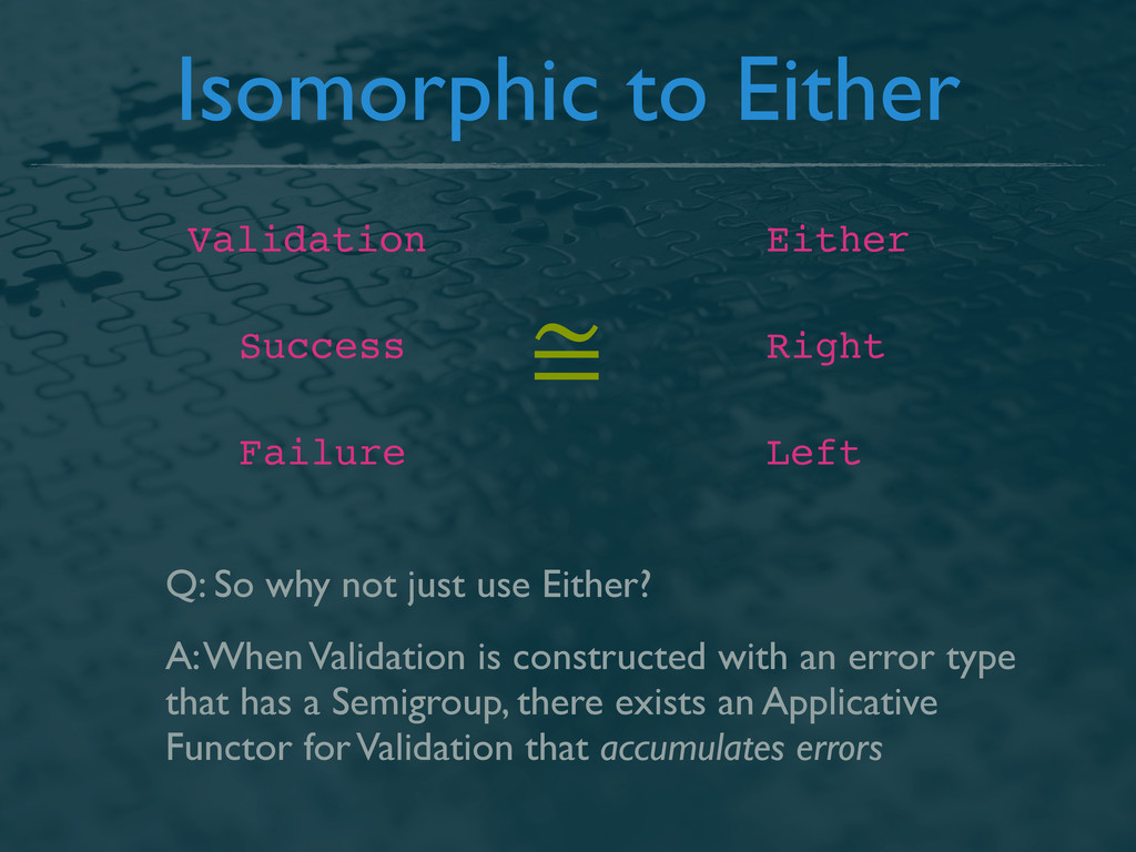 Isomorphic to Either Validation Either Success ...