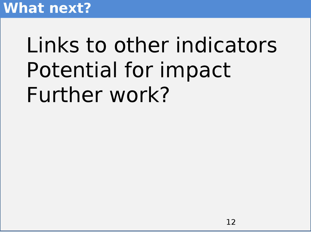 12 12 Links to other indicators Potential for i...