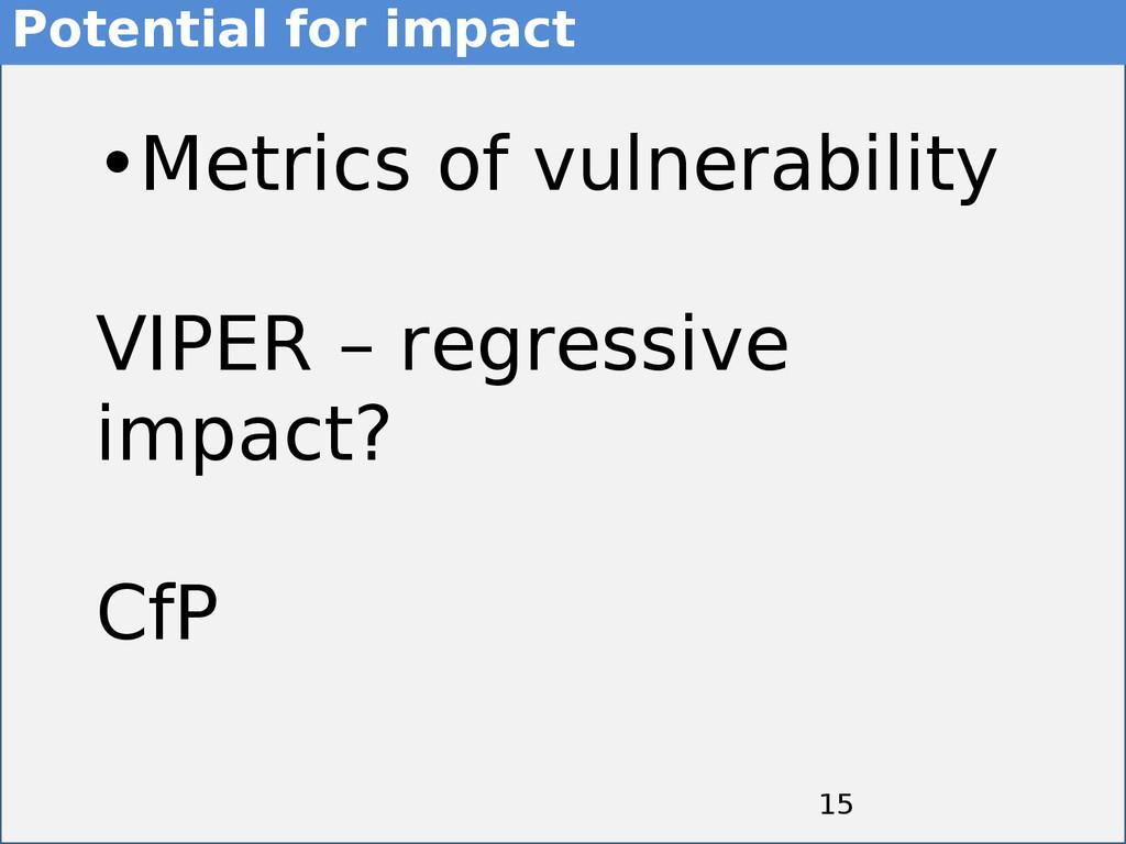 15 15 •Metrics of vulnerability VIPER – regress...
